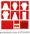 set of red theater curtain and lambrequins 43794443