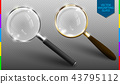 Realistic vector magnifying glass on transparent 43795112