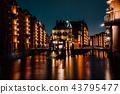 The Warehouse District - Speicherstadt at night. Tourism landmark of Hamburg. View of Wandrahmsfleet 43795477