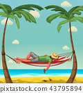 man sleep in hammock 43795894