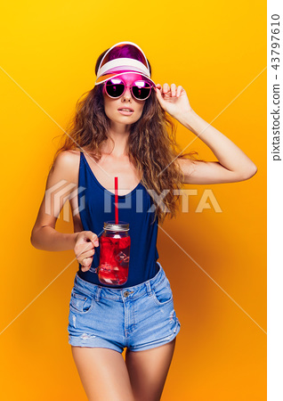 Stylish lady with drink 43797610