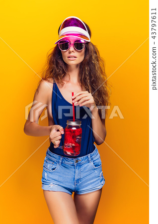 Stylish lady with drink 43797611
