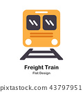 Freight Train Flat Icon 43797951
