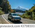 Car driving near Mt Fuji in Japan with motion blur 43798303