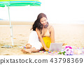Plus size young woman sitting on the beach. 43798369