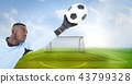 Soccer goalkeeper saving ball in goal 43799328