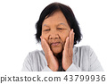 Senior woman suffering from toothache isolated  43799936