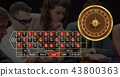 Roulette interface and players in casino 43800363