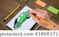 Sketch of car and hand drawing 43800371