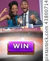 Win button and couple celebrating in casino 43800714