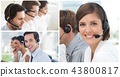 Collage of Customer Service help team in call center 43800817