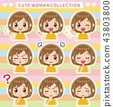 女性的面部表情集(带边框) 43803800