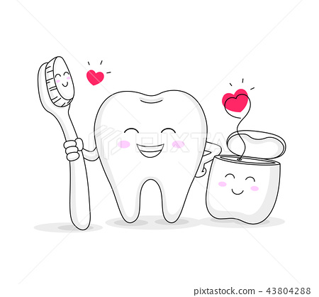 tooth character with toothbrush and dental floss. 43804288