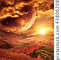 Fantastic landscape with planet, mountains, sunset 43806208