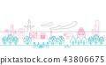 Streetscape line drawing Osaka 43806675