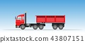 Side View of Red Trailer Dump Truck 43807151
