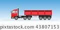Side View of Red Trailer Dump Truck 43807153