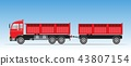 Side View of Red Trailer Dump Truck 43807154