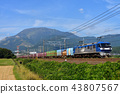 EF210-12 container freight train running behind Ibukiyama in clear autumn 43807567