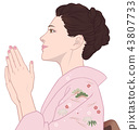與手Shochiku梅粉紅色相配的和服女性 43807733