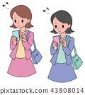 觀看智能手機的婦女 43808014