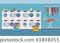 Laundry room interior with washing machine, 43808055