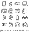 Vector line Devices and gadgets icons set. 43808128