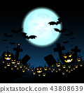 Halloween night with pumpkins and blue Moon 43808639