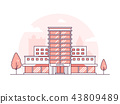 Hospital building - modern thin line design style vector illustration 43809489