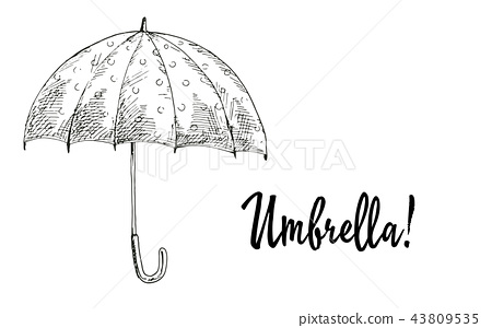 Opened umbrella contoured isolated  43809535