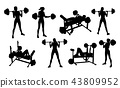 Gym Fitness Equipment Woman Silhouettes Set 43809952