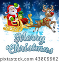 Santa Sleigh Merry Christmas Cartoon Background 43809962
