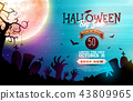 Halloween Sale banner illustration with moon, crow and flying bats on blue night sky background 43809965