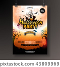 Halloween Party flyer vector illustration with pumpkin and bats on mysterious moon background 43809969