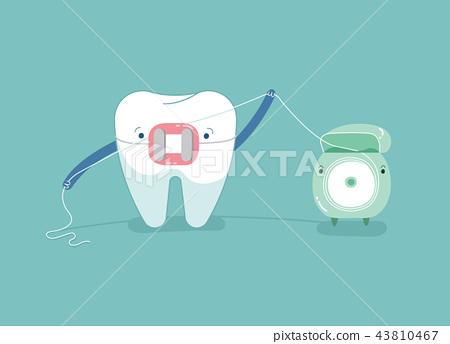 Brace tooth using dental floss for white teeth, de 43810467