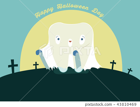 Halloween day of dental, tooth fantacy concept. 43810469