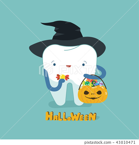 Halloween day of dental, tooth fantacy concept. 43810471