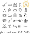 Set of musical instruments line icon. 43810833