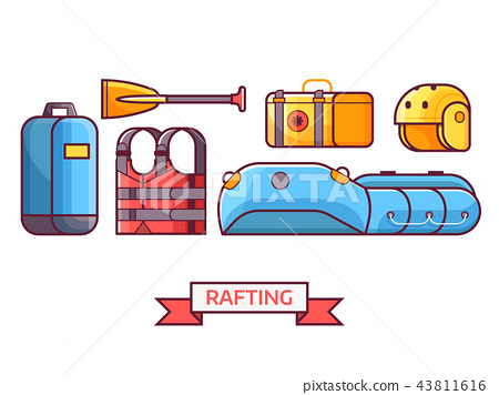 Rafting and Boating Equipment Icons 43811616