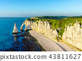 Natural chalk arch at Etretat, France 43811627
