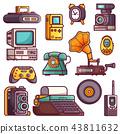 retro, icon, elements 43811632