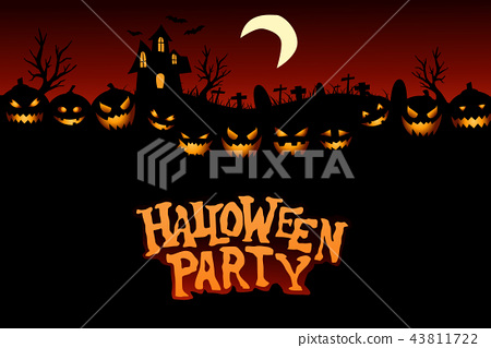 Halloween Party Background with Pumpkins 43811722