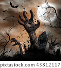 Scary Halloween background with zombie hands. 43812117