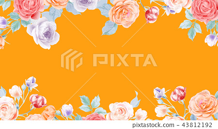 水彩鉛筆玫瑰花牡丹花和葉子 43812192