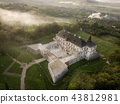 Aerial top view to palace castle in Pidhirci 43812981