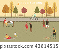 Park at autumn or fall with people activity 43814515