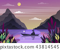 Nature landscape with mountains and fisherman 43814545