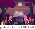 Nature landscape with tent at night or twilight 43814548