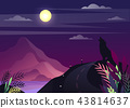 Nature landscape with wolf howling at moon 43814637