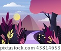 Morning or night nature panorama with mountain 43814653